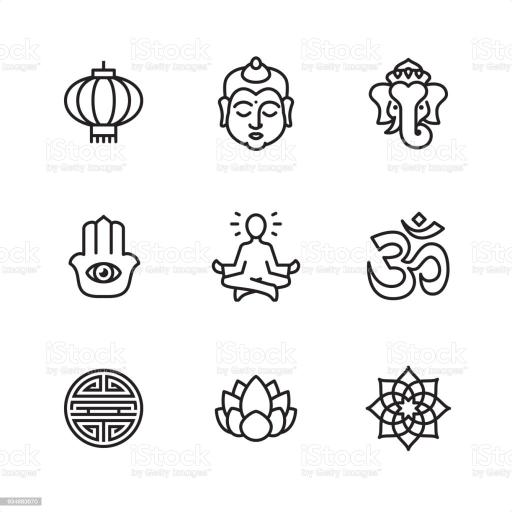 Asia - Pixel Perfect icons vector art illustration