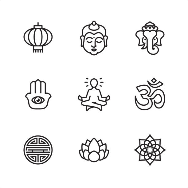 Asia - Pixel Perfect icons Asia theme related outline vector icon set.  9 Outline style black and white icons / Set #02 Pixel Perfect Principle - all the icons are designed in 64x64 px grid, outline stroke 2 px.  CONTENT BY ROWS  First row of outline icons contains:  Chinese Lantern, Buddha, Ganesha.  Second row contains:  Hamsa symbol, Lotus Position (Guru Meditation), Om symbol.  Third row contains:  Shou character, Lotus flower, Mandala.  Complete Outline 3x3 PRO collection - https://www.istockphoto.com/collaboration/boards/hyo8kGplAEWxASfzDWET0Q meditation stock illustrations