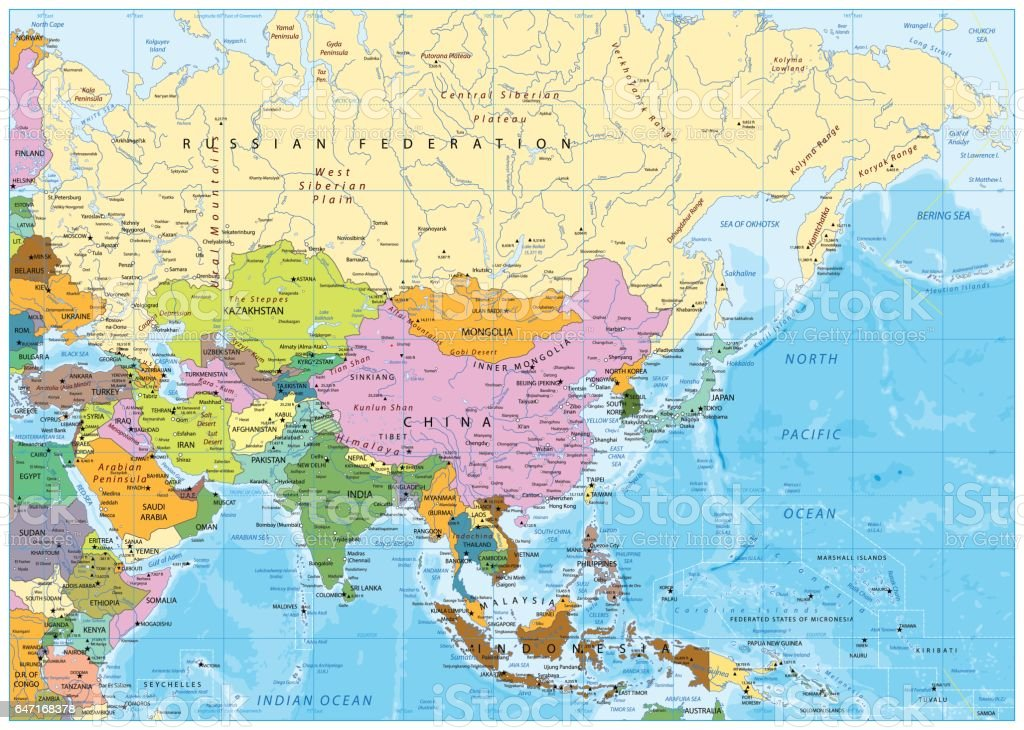 Asia Political Map Stock Vector Art More Images Of Afghanistan - Asia political map