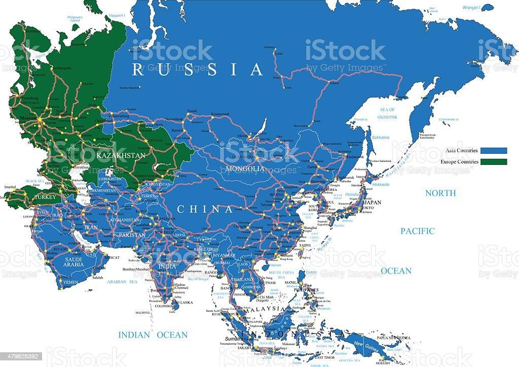 Asia road map vector art illustration