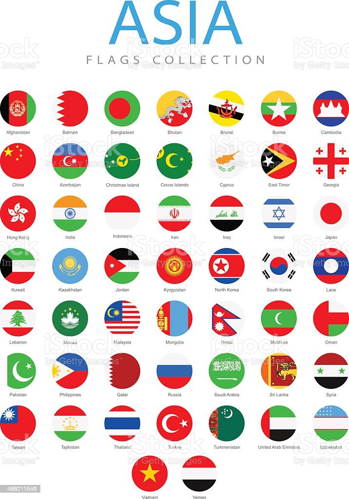 Asia - Rounded Flags - Illustration vector art illustration