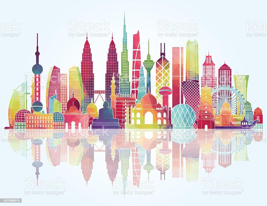 asia skyline detailed silhouette vector illustration stock