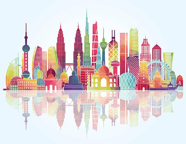 アジアの街並みの詳細なシルエットを作ります。ベクトルイラスト - アジア旅行点のイラスト素材/クリップアート素材/マンガ素材/アイコン素材