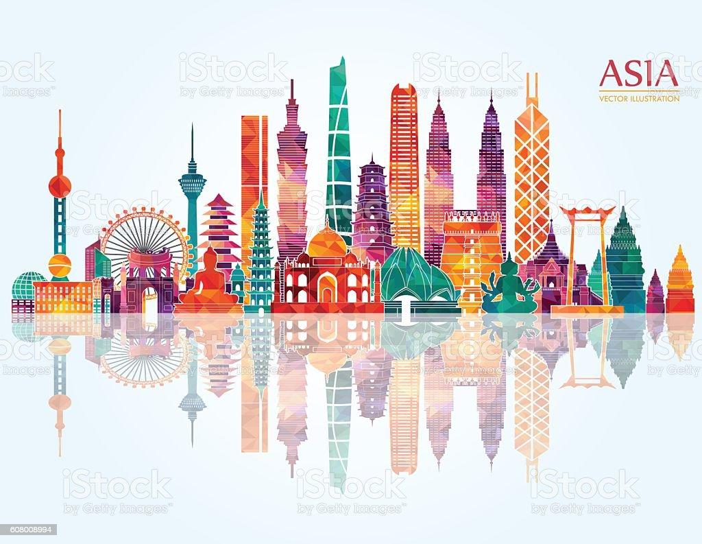 Asia skyline detailed silhouette. Vector illustration - Royalty-free Anıt Vector Art