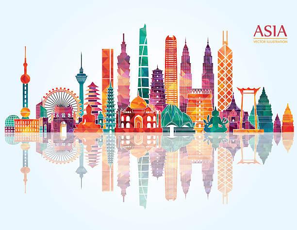 asien skyline detaillierte kontur. vektor-illustration - asien stock-grafiken, -clipart, -cartoons und -symbole