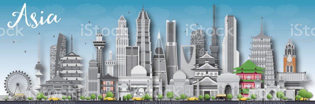 Asia horizonte Silueta con diferentes atracciones turísticas. - ilustración de arte vectorial