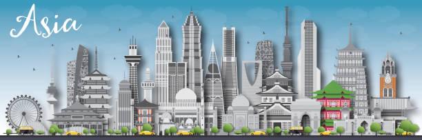 bildbanksillustrationer, clip art samt tecknat material och ikoner med asia skyline silhouette with different landmarks. - illustrationer med hongkong