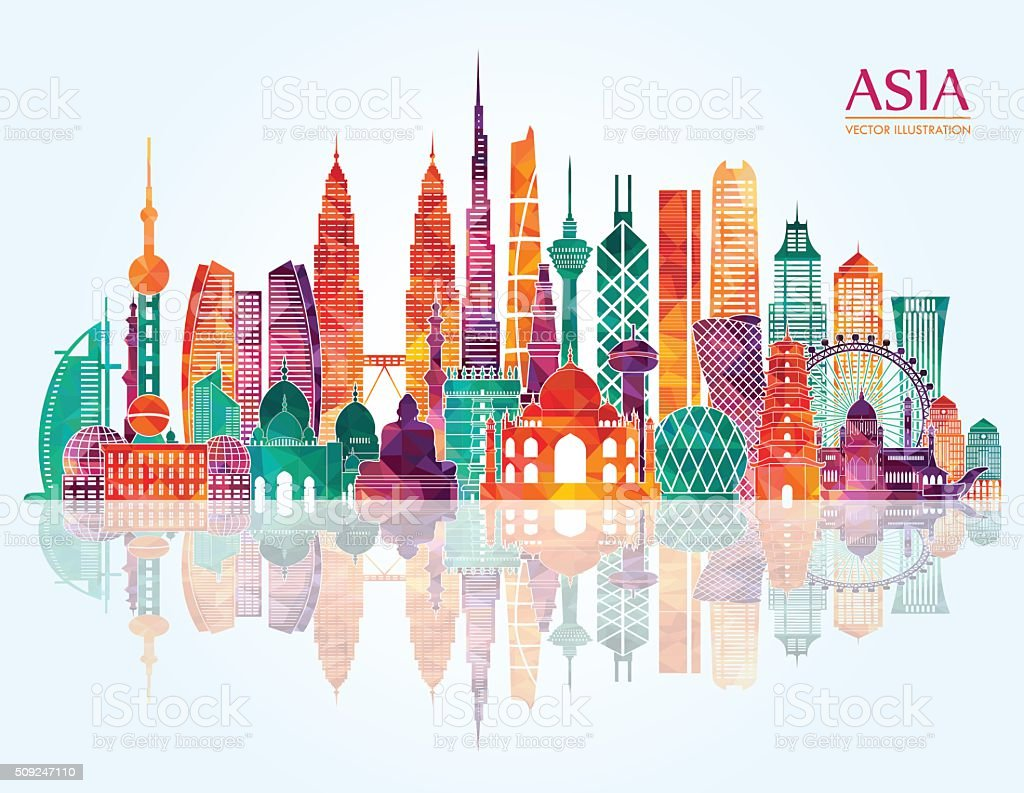 Asia skyline. Vector illustration vector art illustration