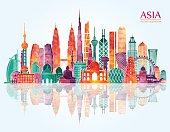 Asia skyline. Vector illustration