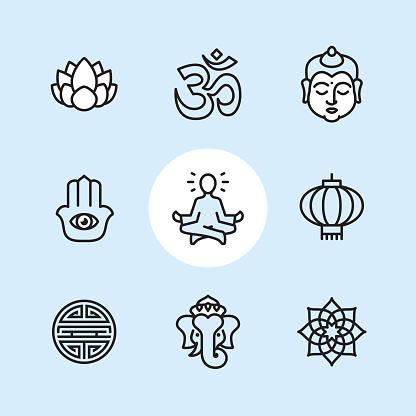 Asia theme - outline icon set