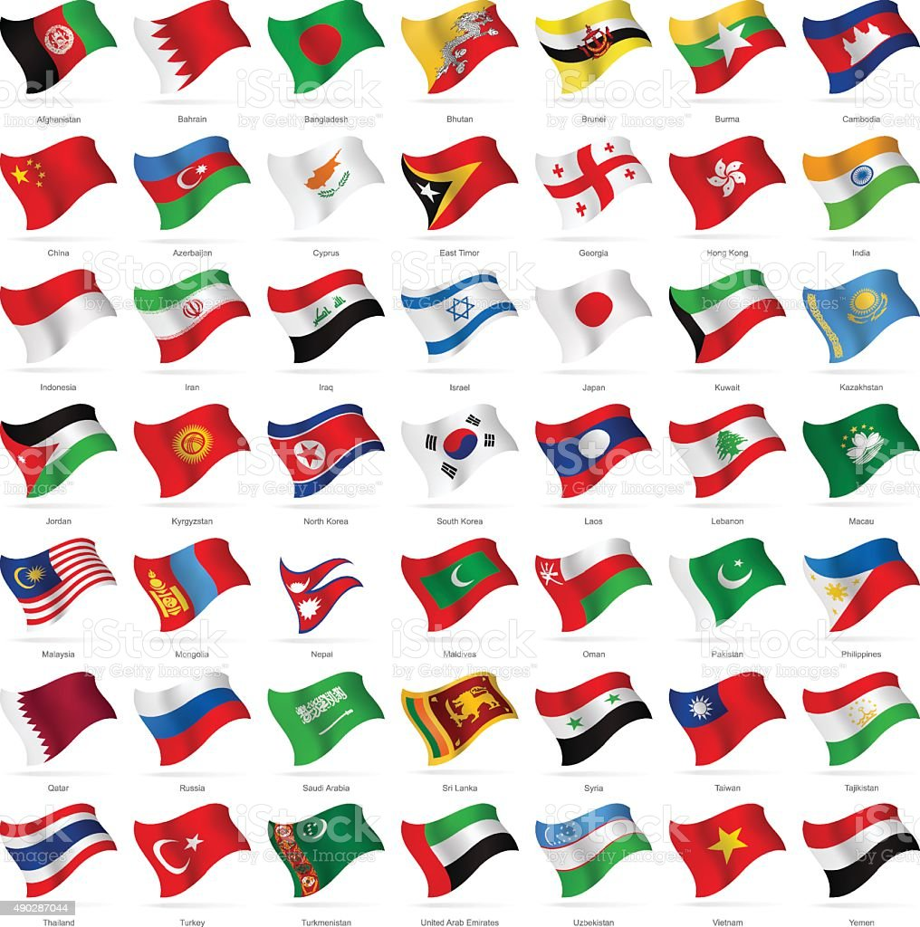 Asia - Waving Flags - Illustration vector art illustration