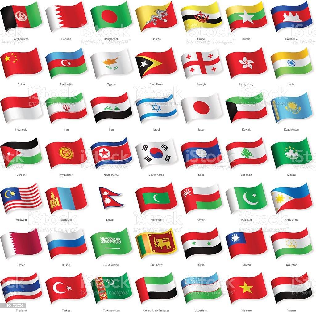 Ásia-agitando bandeiras-Ilustração - ilustração de arte em vetor