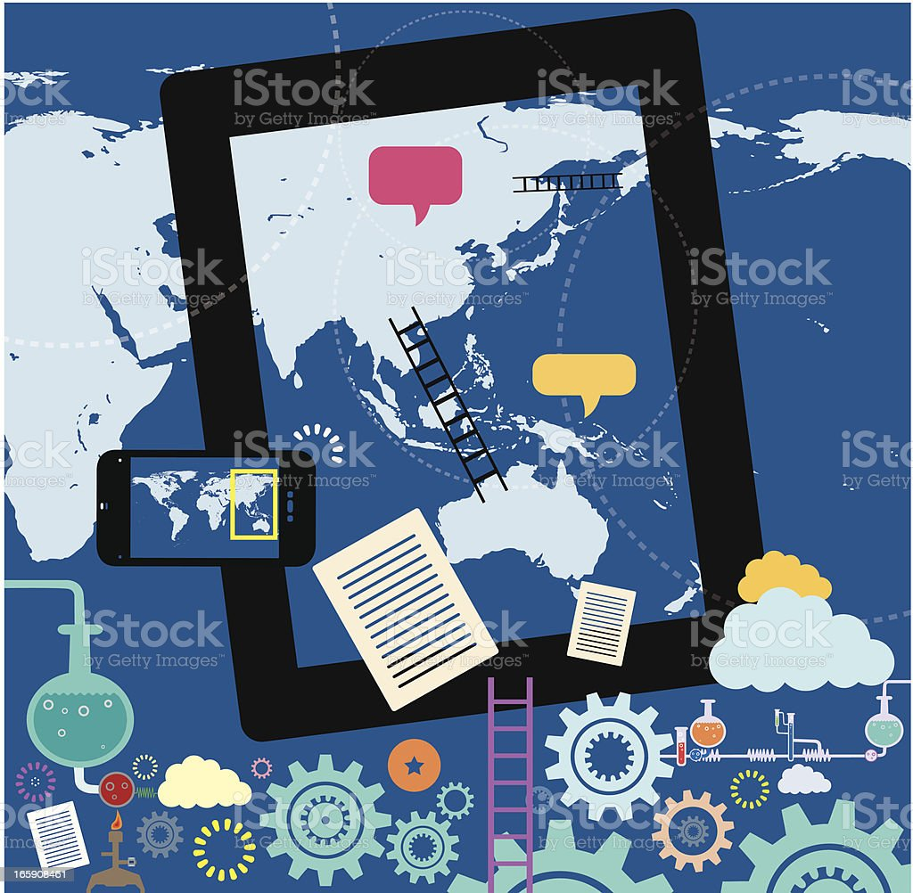 Asia with Australia and Social Networking Communities royalty-free stock vector art