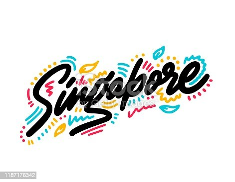 Singapore. Vector calligraphy. Typography poster. Usable as background.