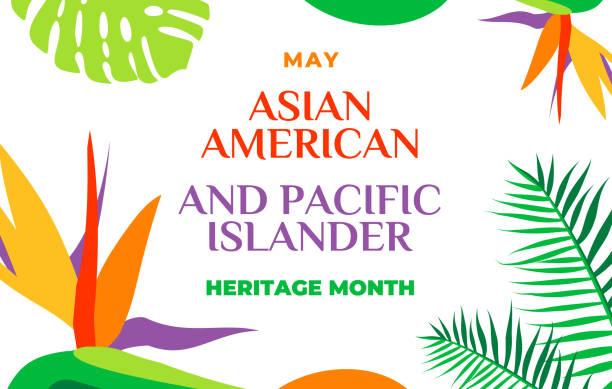 亞裔美國人和太平洋島民遺產月。向量橫幅用於社交媒體、卡片、海報。插圖與文本,熱帶植物。亞太裔美國傳統月。水平組合 - 亞洲 幅插畫檔、美工圖案、卡通及圖標