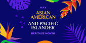 istock Asian American and Pacific Islander Heritage Month. Vector banner for social media, card, poster. Illustration with text, tropical plants. Asian Pacific American Heritage Month horizontal composition 1309253560