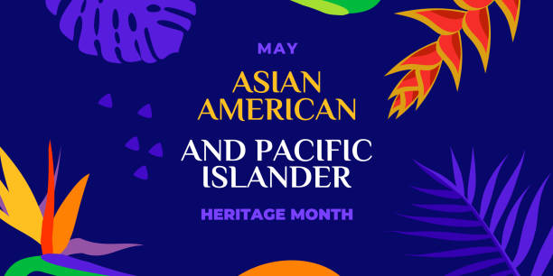 Asian American and Pacific Islander Heritage Month. Vector banner for social media, card, poster. Illustration with text, tropical plants. Asian Pacific American Heritage Month horizontal composition Asian American and Pacific Islander Heritage Month. Vector banner for social media, card, poster. Illustration with text, tropical plants. Asian Pacific American Heritage Month horizontal composition. month stock illustrations