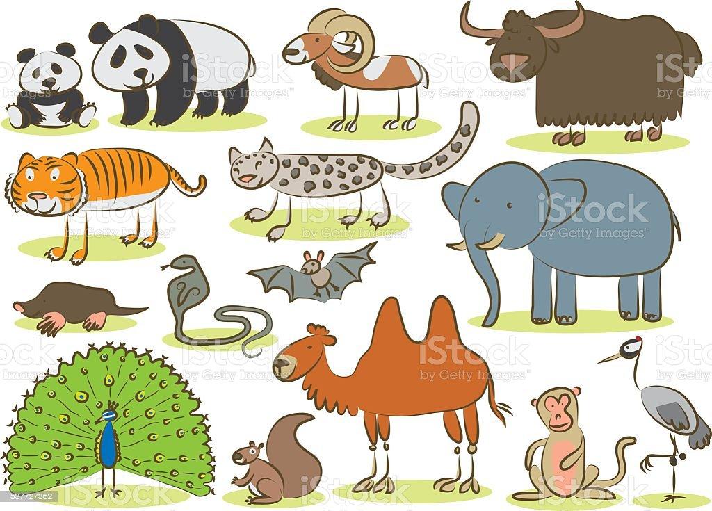 Asian Animals Kids Drawing Stock Illustration - Download ...