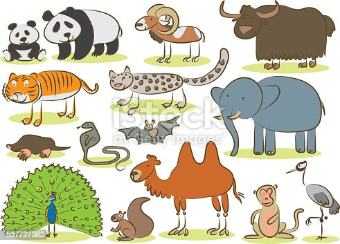 Asian Animals Kids Drawing Stock Vector Art & More Images of Animal ...