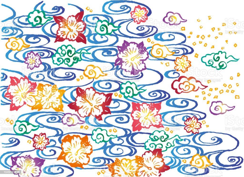 アジアの背景ハイビスカスと雲と川紅型デザイン アジア大陸のベクター