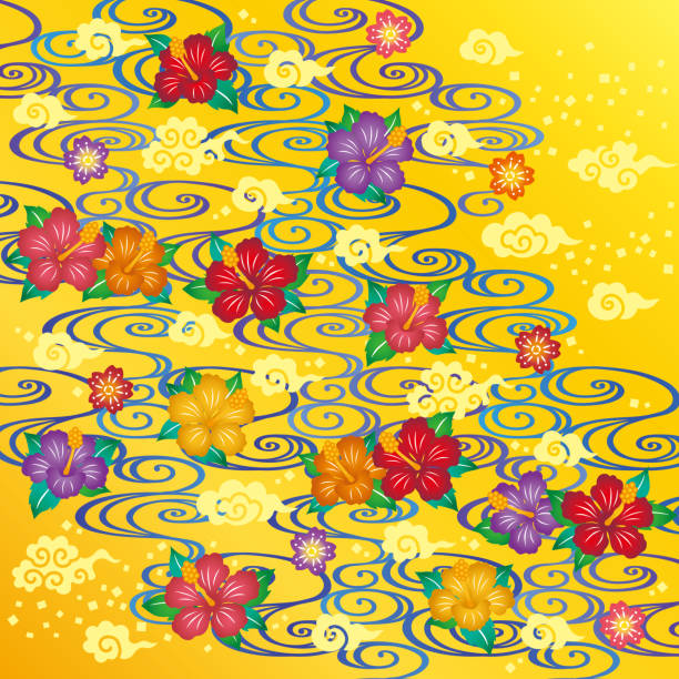 Asian background. hibiscus and cloud and river. Bingata: traditional design of Okinawa. Okinawa is one of Japanese prefecture. naha okinawa stock illustrations