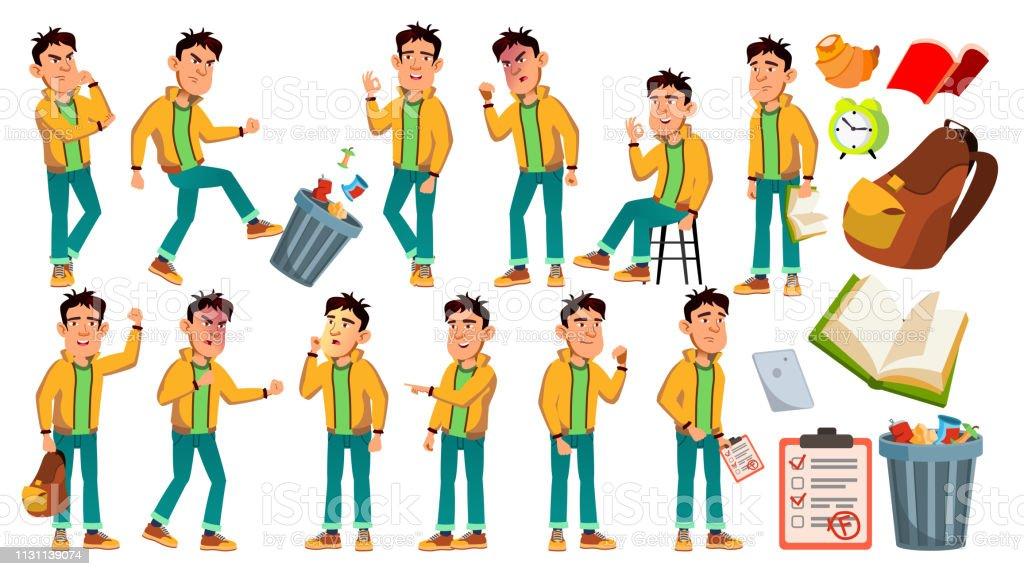 Vetor asiático do Schoolboy do menino mau. Criança do ensino médio. Estudo de crianças. Sorriso, atividade, Beautiful. Para Web, brochura, design de cartaz. Ilustração isolada dos desenhos animados - ilustração de arte em vetor