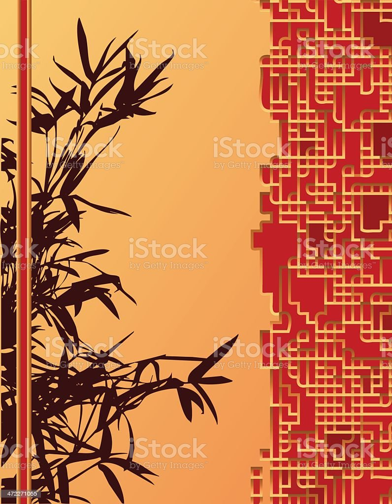 Asian bamboo background in warm tones royalty-free stock vector art