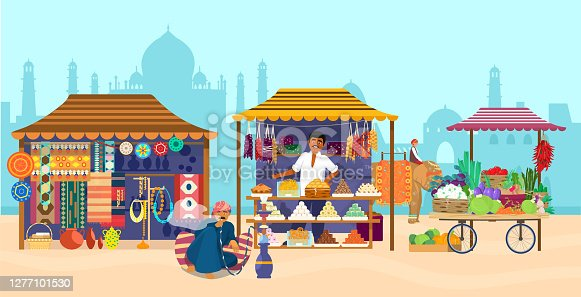 Vector illustration of Asian market with different shops and people. Elephant rider, Taj Mahal silhouette, souvenir shop, sweets shop, pottery, carpets, fabrics, vegetables, man smoking hookah.