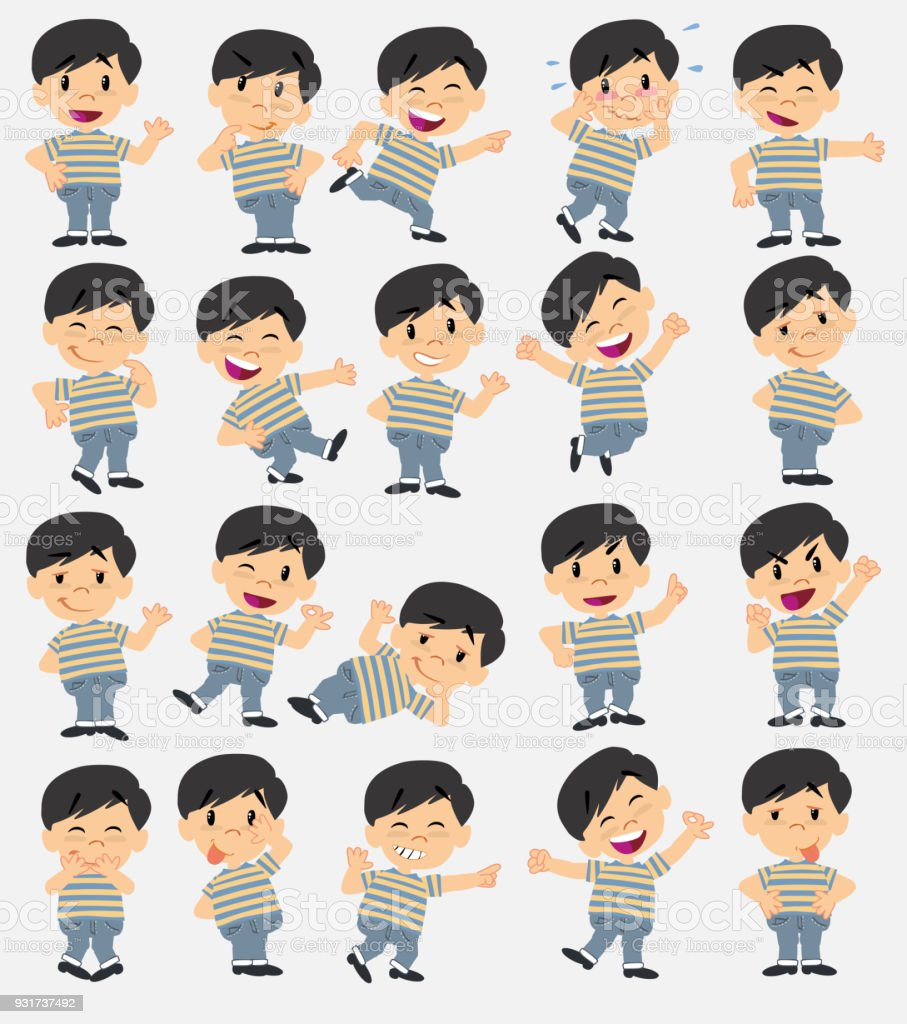 asian boy in jeans twenty eight expressions and basics body elements