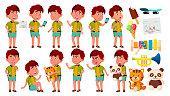 Asian Boy Kindergarten Kid Poses Set Vector. Active, Joy Preschooler Playing. For Presentation, Print, Invitation Design. Isolated Illustration