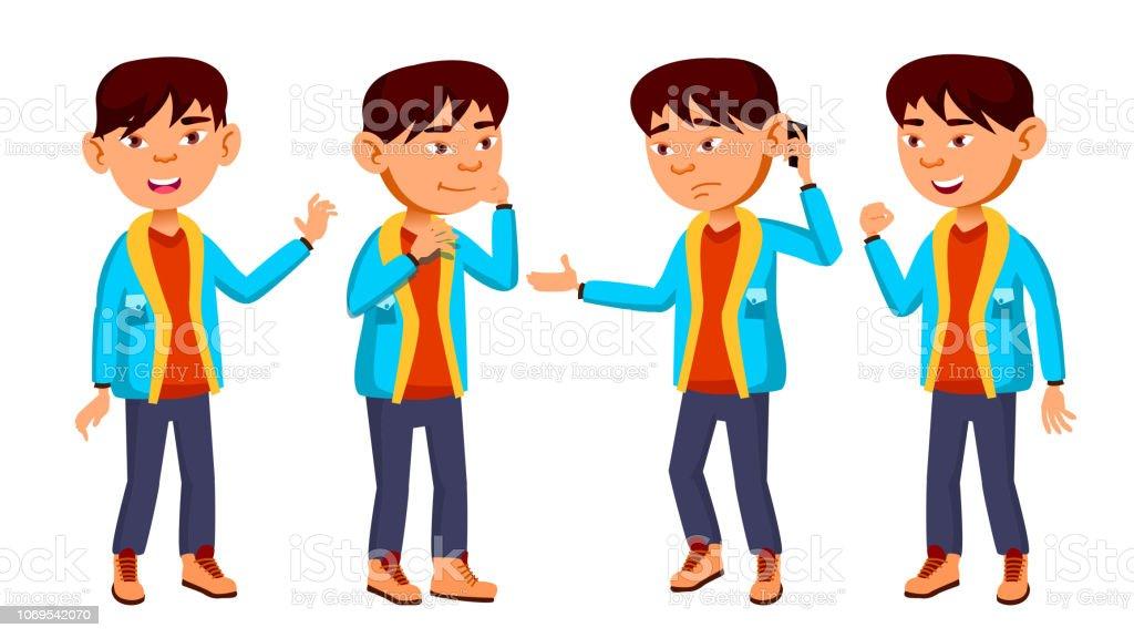 71077969312 Asia muchacho colegial niño plantea establecer Vector. Niño de escuela  primaria. Niños divertidos.