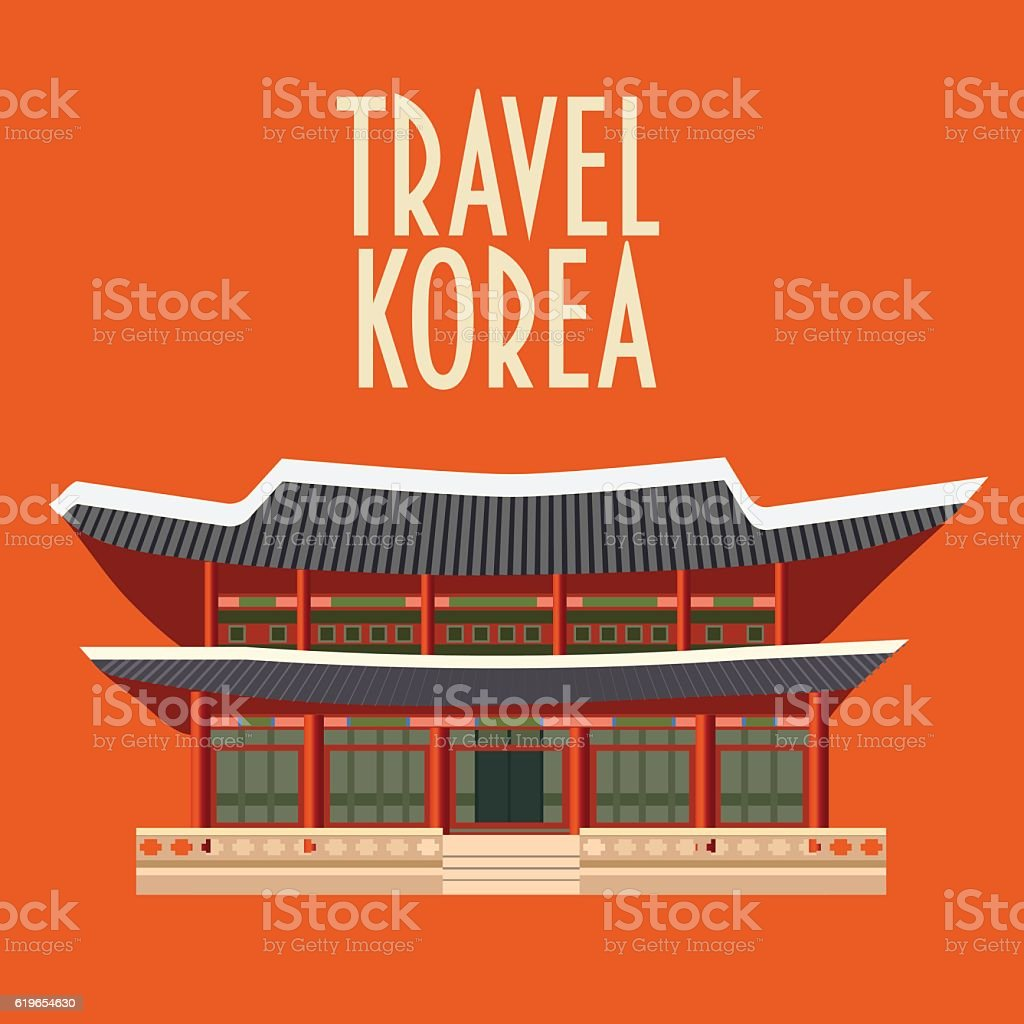 asian building conceptual card with a typography travel korea royalty free asian building