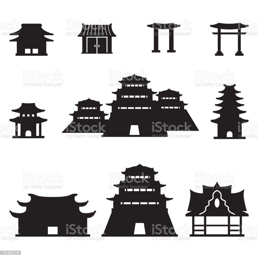 Asian buildings set. Vector.