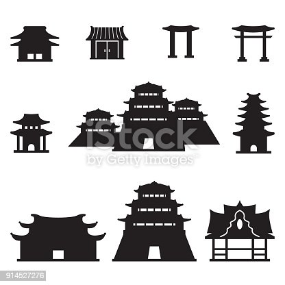 Asian buildings set. Vector.  eps10.