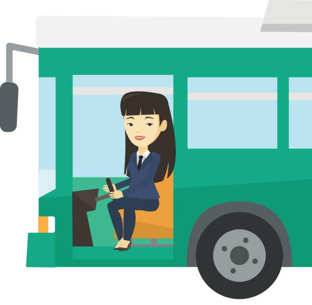 illustrations, cliparts, dessins animés et icônes de chauffeur de bus asiatiques assis au volant - conducteur de bus
