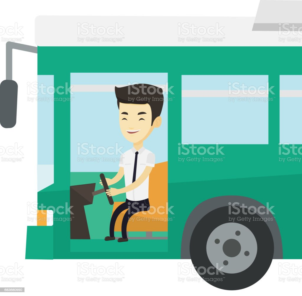 Asian bus driver sitting at steering wheel vector art illustration