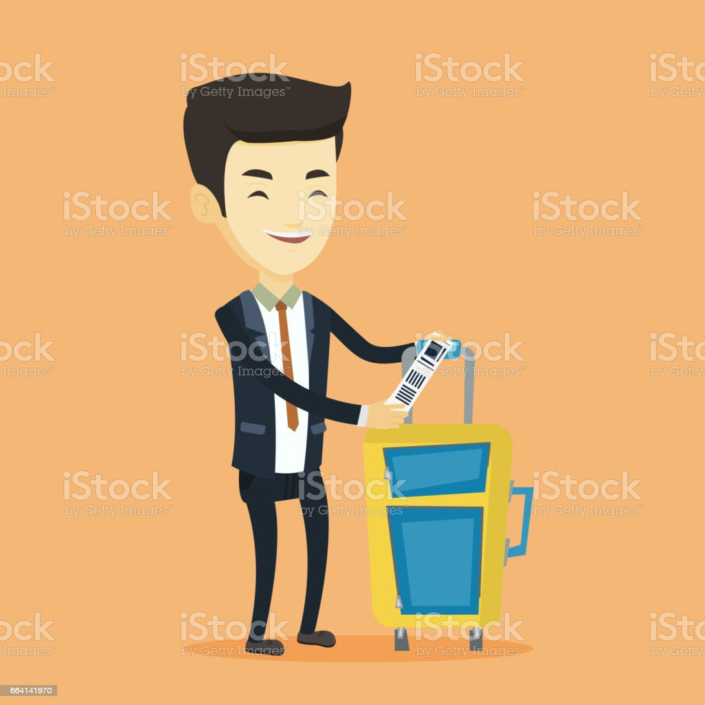 Asian business man showing luggage tag asian business man showing luggage tag - immagini vettoriali stock e altre immagini di adulto royalty-free