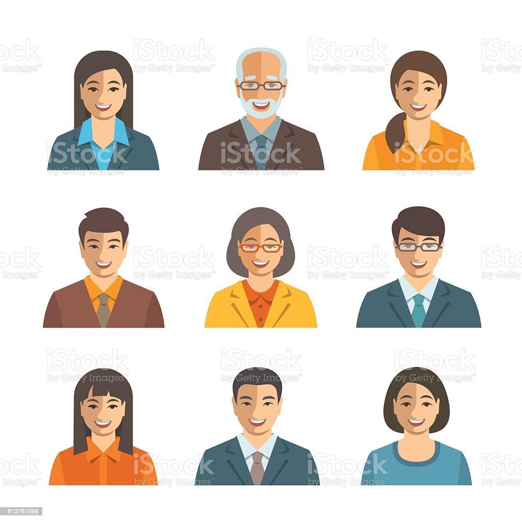 Asian business people simple flat vector avatars - ilustração de arte em vetor