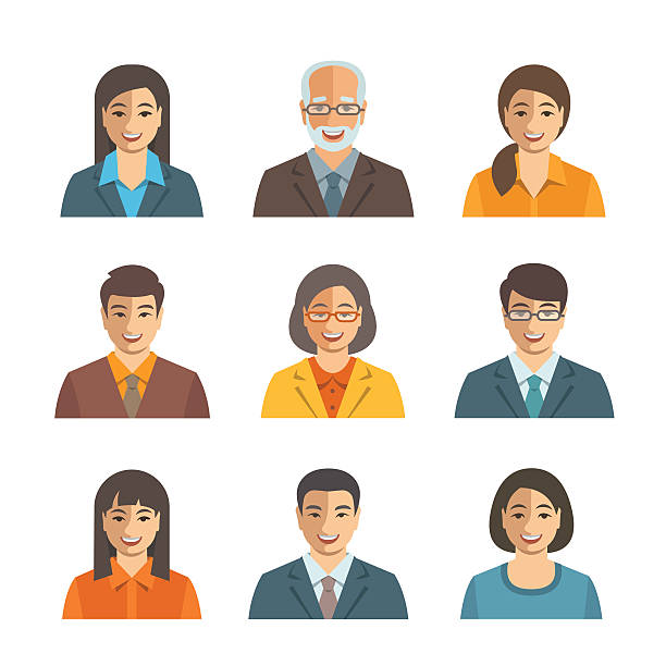 Asian business people simple flat vector avatars vector art illustration