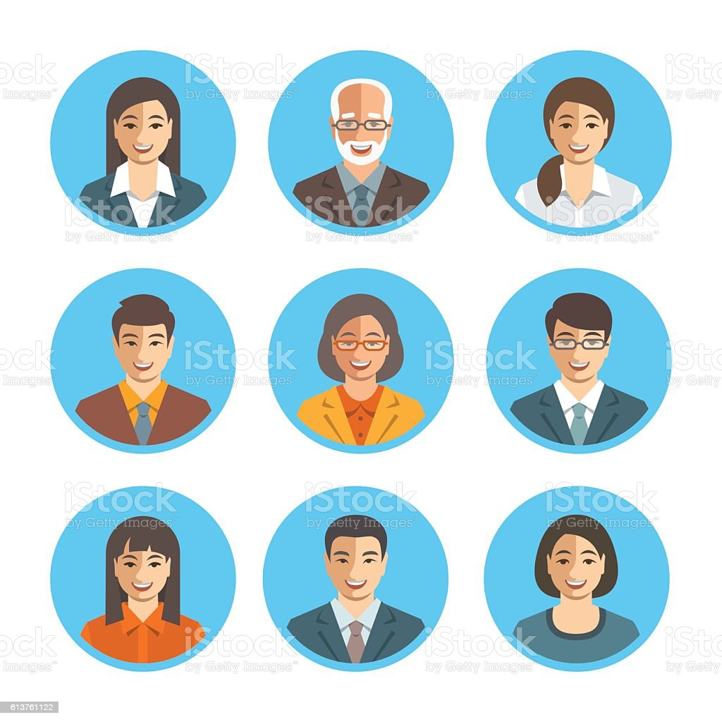 Asian business people simple flat vector avatars vector art illustration
