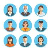 Asian business people simple flat vector avatars