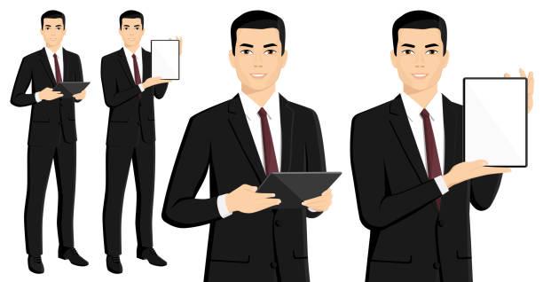 デジタル タブレットでアジア系のビジネスマン - ビジネスマン 日本人点のイラスト素材/クリップアート素材/マンガ素材/アイコン素材