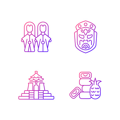 Asian ceremonial gradient linear vector icons set.