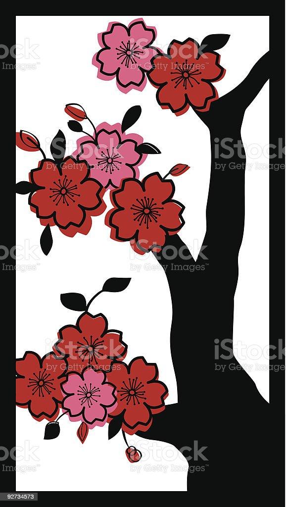 Asian Cherry Blossom Tree royalty-free stock vector art