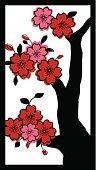 Asian cherry blossom tree. Wood block print style.