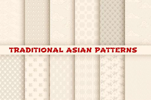 Asian Chinese Japanese Vector Seamless Patterns — стоковая векторная графика и другие изображения на тему Seigaiha
