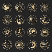Asian circle pattern set with clouds, moon, sun, stars . Vector collection in oriental chinese, japanese, korean style. Line hand drawn illustration isolated on black background. Retro elements set.
