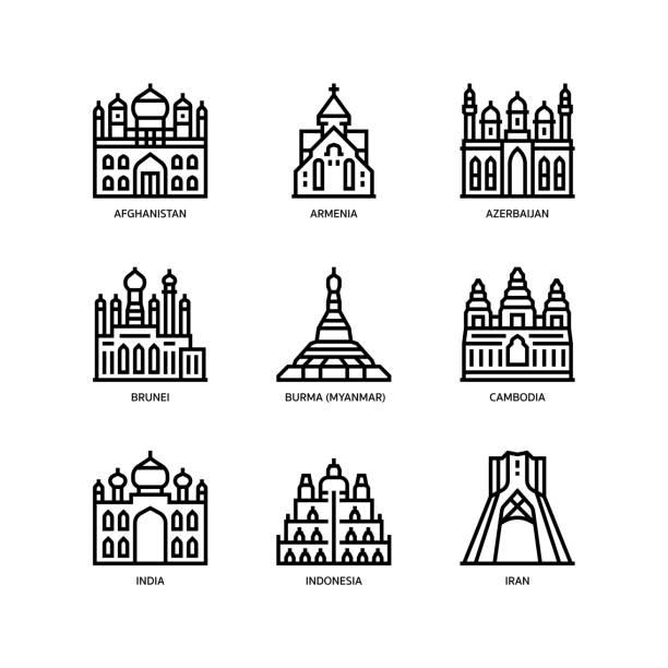 stockillustraties, clipart, cartoons en iconen met aziatische steden en provincies oriëntatiepunten iconen set 1 - myanmar