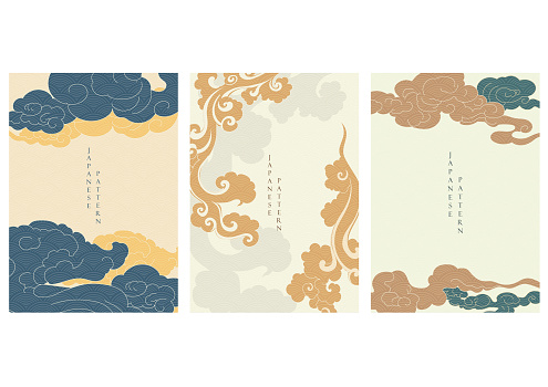 Asian cloud background with Japanese wave pattern vector. Oriental template in vintage style.