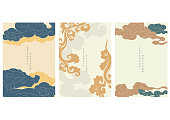 istock Asian cloud background with Japanese wave pattern vector. Oriental template in vintage style. 1229861924